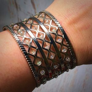 Vintage Silver tone Beaded Cuff